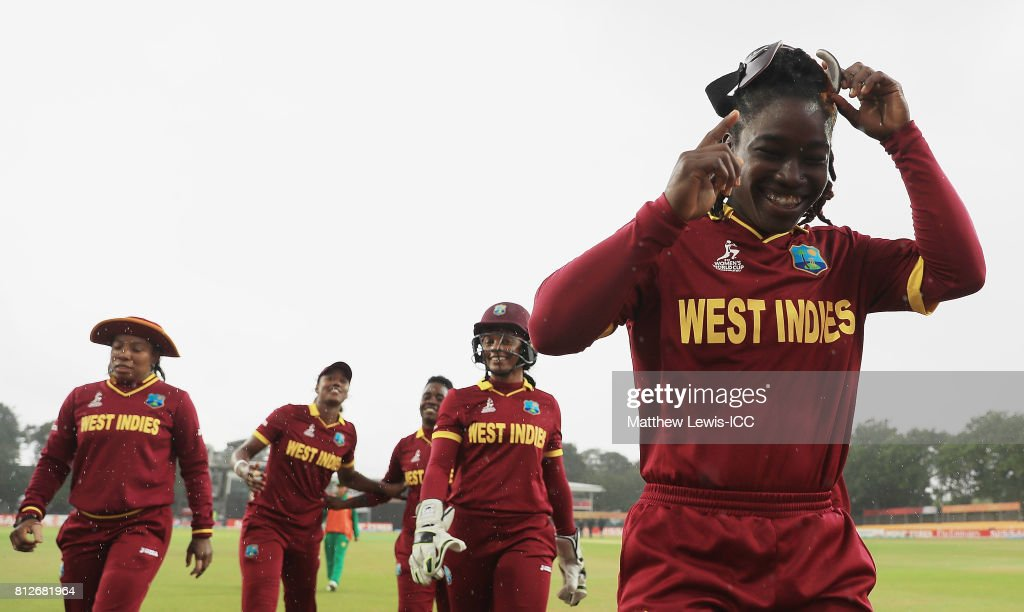 Deandra Dottin of the West Indies looks on after rain stops play during the second innings during the ICC Women's World Cup 2017 match between West Indies and Pakistan at Grace Road on July 11, 2017 in Leicester, England.