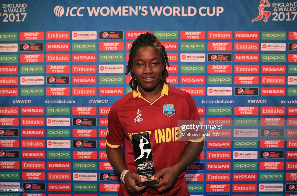 Deandra Dottin of the West Indies pictured with the 'Player of the Match' award after the ICC Women's World Cup 2017 match between West Indies and Pakistan at Grace Road on July 11, 2017 in Leicester, England.