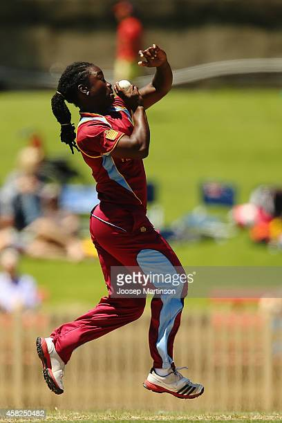 Deandra Dottin of West Indies bowls during the women's International Twenty20 match between Australia and the West Indies at North Sydney Oval on...
