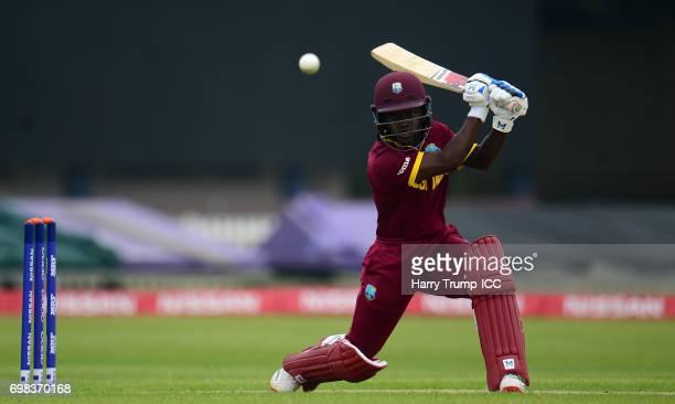 Deandra Dottin of West Indies Women bats during the ICC Women's World Cup Warm Up Match between West Indies Women and Pakistan Women at Grace Road on...