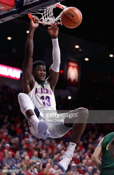 Deandre Ayton of the Arizona Wildcats dunks during the second half of the college basketball game against the North Dakota State Bison at McKale...
