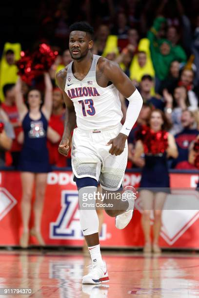 Deandre Ayton of the Arizona Wildcats during the first half of the college basketball game against the Utah Utes at McKale Center on January 27 2018...
