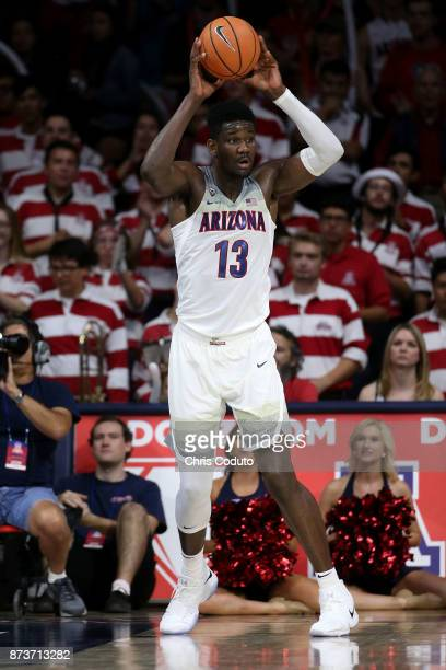 Deandre Ayton of the Arizona Wildcats during the second half of the college basketball game against the Northern Arizona Lumberjacks at McKale Center...