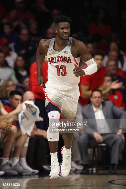 Deandre Ayton of the Arizona Wildcats during the second half of the college basketball game against the Connecticut Huskies at McKale Center on...