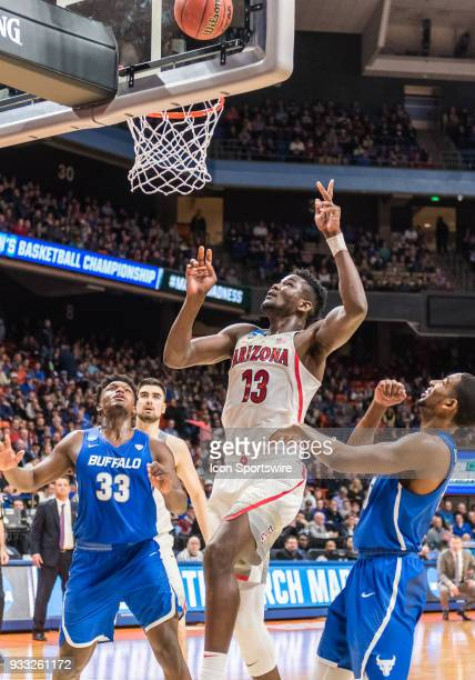 DeAndre Ayton of the Arizona Wildcats follows up his basket during the NCAA Division I Men's Championship First Round game between the Arizona...