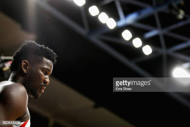 Deandre Ayton of the Arizona Wildcats looks on against the Buffalo Bulls during the first round of the 2018 NCAA Men's Basketball Tournament at Taco...
