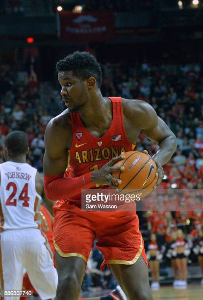 Deandre Ayton of the Arizona Wildcats looks to drive against the UNLV Rebels during their game at the Thomas Mack Center on December 2 2017 in Las...