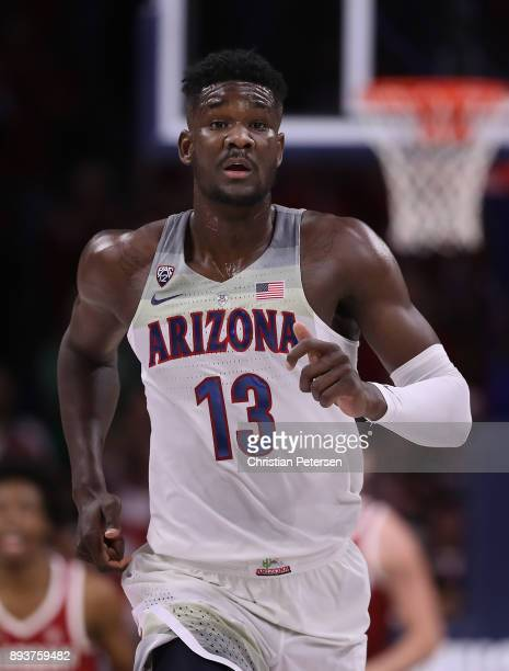 Deandre Ayton of the Arizona Wildcats reacts after scoring against the Alabama Crimson Tide during the first half of the college basketball game at...