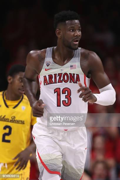 Deandre Ayton of the Arizona Wildcats reacts after scoring against the California Golden Bears during the first half of the college basketball game...