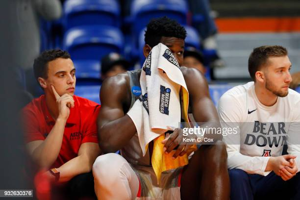 Deandre Ayton of the Arizona Wildcats reacts on the bench in the second half against the Buffalo Bulls during the first round of the 2018 NCAA Men's...
