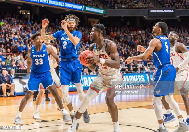 DeAndre Ayton of the Arizona Wildcats sets up under the basket for a shot during the NCAA Division I Men's Championship First Round game between the...
