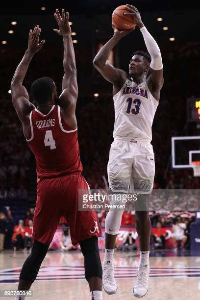 Deandre Ayton of the Arizona Wildcats shoots over Daniel Giddens of the Alabama Crimson Tide during the second half of the college basketball game at...