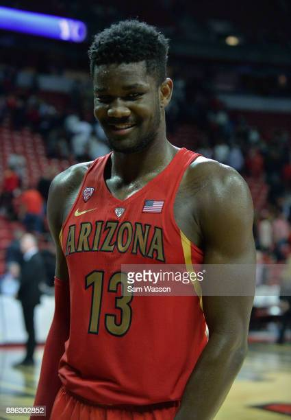 Deandre Ayton of the Arizona Wildcats stands on the court after his team's game against the UNLV Rebels at the Thomas Mack Center on December 2 2017...