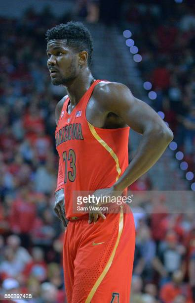 Deandre Ayton of the Arizona Wildcats stands on the court during his team's game against the UNLV Rebels at the Thomas Mack Center on December 2 2017...