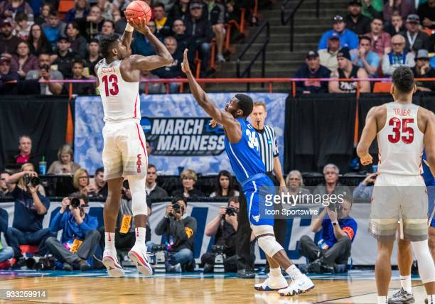 DeAndre Ayton of the Arizona Wildcats takes a jump shot during the NCAA Division I Men's Championship First Round game between the Arizona Wildcats...