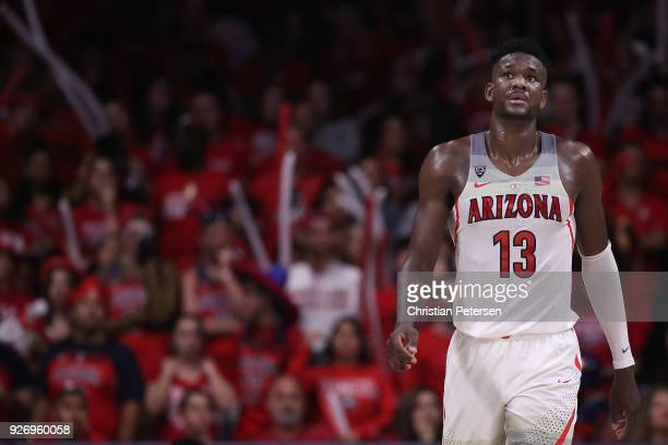 Deandre Ayton of the Arizona Wildcats walks up court during the second half of the college basketball game against the California Golden Bears at...