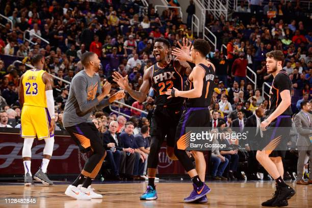 Deandre Ayton of the Phoenix Suns celebrate during the game against the Los Angeles Lakers on March 2 2019 at Talking Stick Resort Arena in Phoenix...