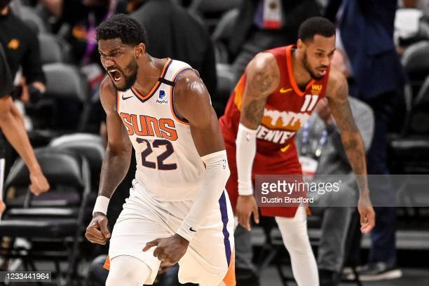 Deandre Ayton of the Phoenix Suns celebrates after scoring against the Denver Nuggets in Game Four of the Western Conference second-round playoff...