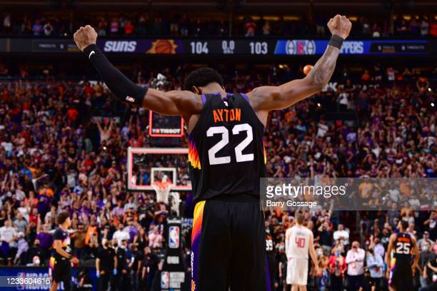Deandre Ayton of the Phoenix Suns celebrates after the game against the LA Clippers during Game 2 of the Western Conference Finals of the 2021 NBA...