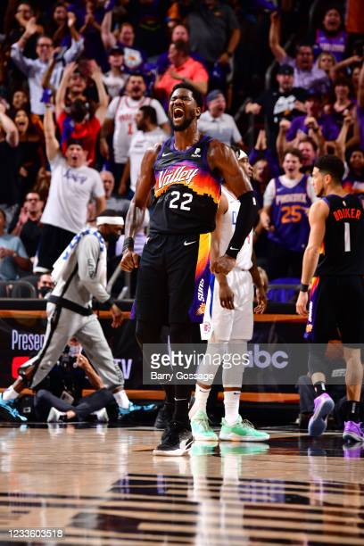 Deandre Ayton of the Phoenix Suns celebrates during the game against the LA Clippers during Game 2 of the Western Conference Finals of the 2021 NBA...