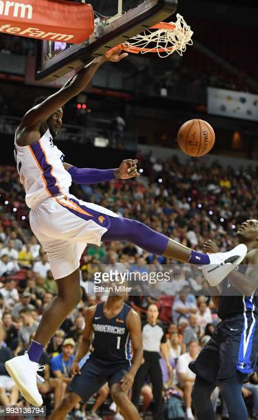Deandre Ayton of the Phoenix Suns dunks against the Dallas Mavericks during the 2018 NBA Summer League at the Thomas Mack Center on July 6 2018 in...