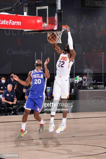 Deandre Ayton of the Phoenix Suns dunks the ball against the Philadelphia 76ers on August 11 2020 at Visa Athletic Center at ESPN Wide World of...