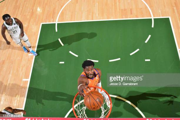 Deandre Ayton of the Phoenix Suns dunks the ball against the Milwaukee Bucks during Game Four of the 2021 NBA Finals on July 14, 2021 at Fiserv Forum...