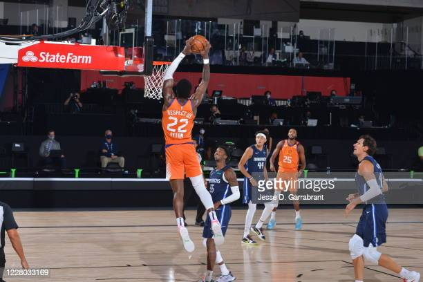 Deandre Ayton of the Phoenix Suns dunks the ball against the Dallas Mavericks on August 13 2020 at AdventHealth Arena in Orlando Florida NOTE TO USER...