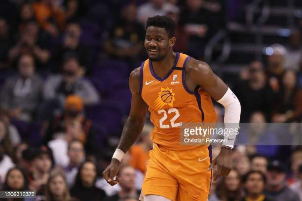 Deandre Ayton of the Phoenix Suns during the first half of the NBA game against the Houston Rockets at Talking Stick Resort Arena on February 07,...