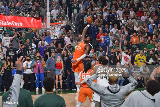 Deandre Ayton of the Phoenix Suns grabs the rebound against the Milwaukee Bucks during Game Four of the 2021 NBA Finals on July 14, 2021 at Fiserv...