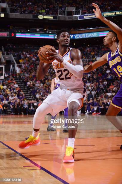 Deandre Ayton of the Phoenix Suns handles the ball against the Los Angeles Lakers on October 24 2018 at Talking Stick Resort Arena in Phoenix Arizona...