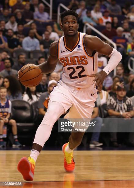 Deandre Ayton of the Phoenix Suns handles the ball during the NBA game against the Los Angeles Lakers at Talking Stick Resort Arena on October 24...