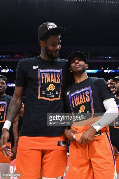 Deandre Ayton of the Phoenix Suns hugs Chris Paul of the Phoenix Suns after the game against the LA Clippers during Game 6 of the Western Conference...