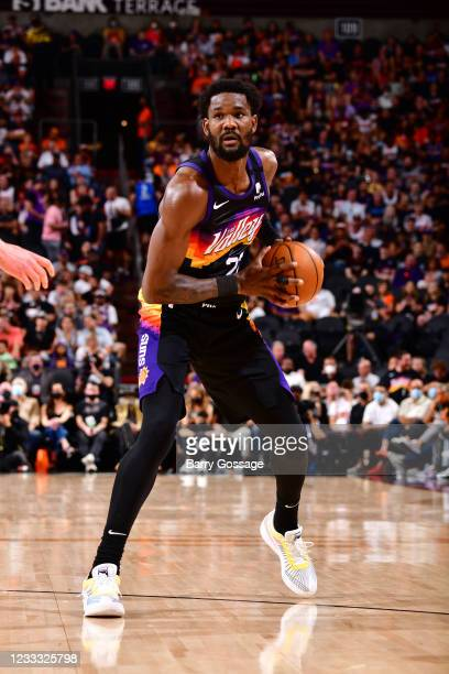 Deandre Ayton of the Phoenix Suns looks to shoots the ball against the Denver Nuggets during Round 2, Game 1 of the 2021 NBA Playoffs on June 7, 2021...