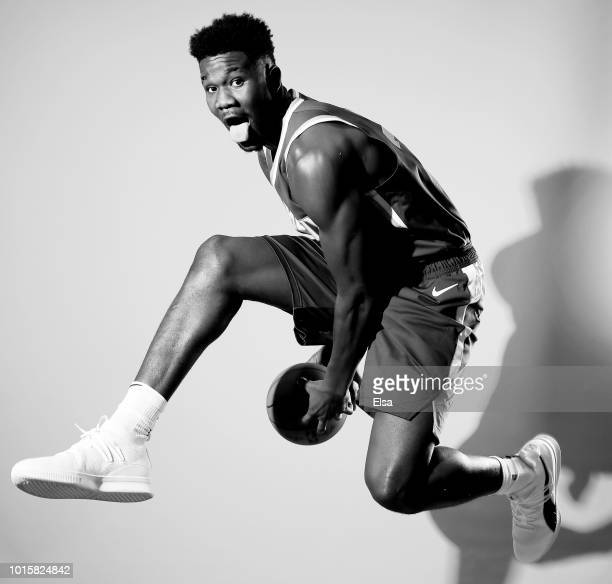 DeAndre Ayton of the Phoenix Suns poses for a portrait during the 2018 NBA Rookie Photo Shoot at MSG Training Center on August 12, 2018 in Tarrytown,...