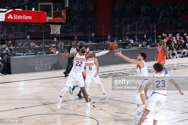 Deandre Ayton of the Phoenix Suns reaches for the ball during the game against the Oklahoma City Thunder on August 10 2020 at The Field House at ESPN...