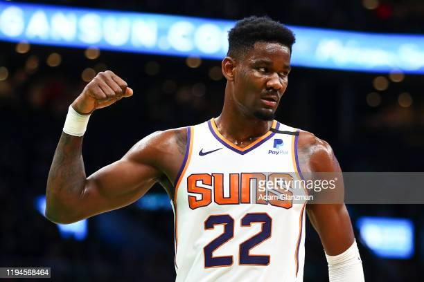 Deandre Ayton of the Phoenix Suns reacts during a game against the Boston Celtics at TD Garden on January 18, 2020 in Boston, Massachusetts. NOTE TO...