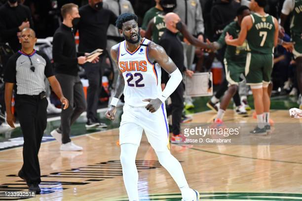 Deandre Ayton of the Phoenix Suns reacts during Game Three of the 2021 NBA Finals on July 11, 2021 at Fiserv Forum in Milwaukee, Wisconsin. NOTE TO...