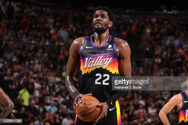 Deandre Ayton of the Phoenix Suns shoots a free throw against the Milwaukee Bucks during Game One of the 2021 NBA Finals on July 6, 2021 at Talking...