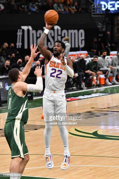 Deandre Ayton of the Phoenix Suns shoots the ball against the Milwaukee Bucks during Game Three of the 2021 NBA Finals on July 11, 2021 at Fiserv...