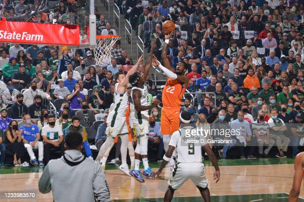 Deandre Ayton of the Phoenix Suns shoots the ball against the Milwaukee Bucks during Game Four of the 2021 NBA Finals on July 14, 2021 at Fiserv...