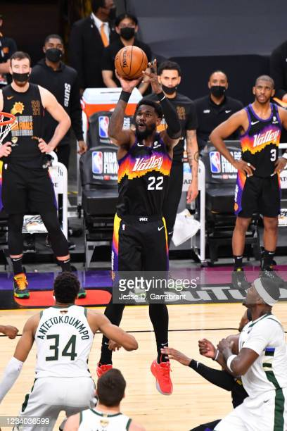 Deandre Ayton of the Phoenix Suns shoots the ball against the Milwaukee Bucks during Game Five of the 2021 NBA Finals on July 17, 2021 at Footprint...
