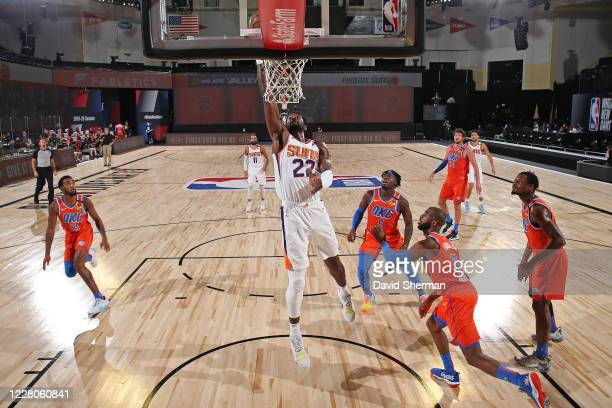 Deandre Ayton of the Phoenix Suns shoots the ball against the Oklahoma City Thunder on August 10 2020 at The Field House at ESPN Wide World Of Sports...