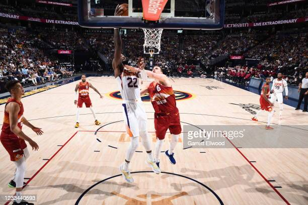 Deandre Ayton of the Phoenix Suns shoots the ball during the game against the Denver Nuggets during Round 2, Game 4 of the 2021 NBA Playoffs on June...