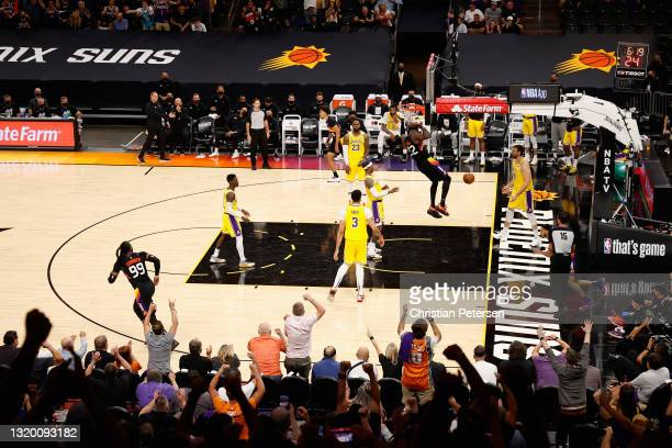Deandre Ayton of the Phoenix Suns slam dunks the ball against the Los Angeles Lakers during the second half of Game Two of the Western Conference...