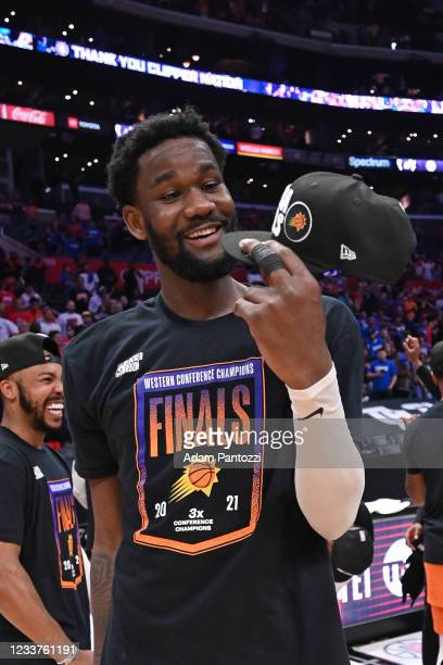 Deandre Ayton of the Phoenix Suns smiles after the game against the LA Clippers during Game 6 of the Western Conference Finals of the 2021 NBA...