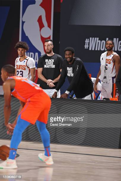 Deandre Ayton of the Phoenix Suns smiles during a game against the Oklahoma City Thunder on August 10 2020 at The Field House at ESPN Wide World Of...