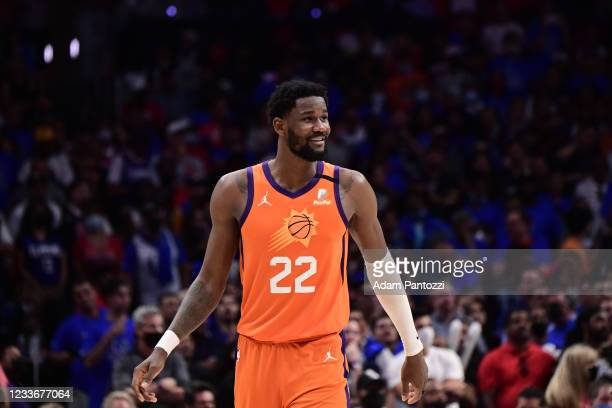 Deandre Ayton of the Phoenix Suns smiles during Game 4 of the Western Conference Finals of the 2021 NBA Playoffs on June 26, 2021 at STAPLES Center...