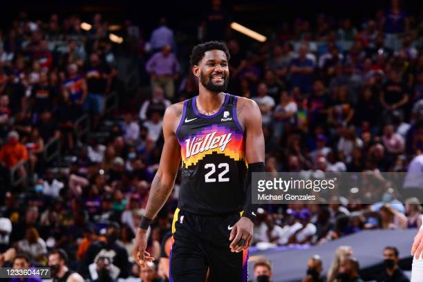 Deandre Ayton of the Phoenix Suns smiles during the game against the LA Clippers during Game 2 of the Western Conference Finals of the 2021 NBA...