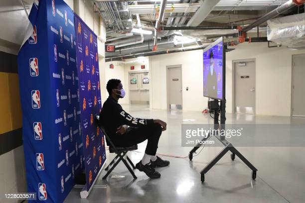 DeAndre Ayton of the Phoenix Suns speaks to the media after the game against the Dallas Mavericks as part of the NBA Restart 2020 on August 13 2020...